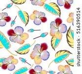 bright hawaiian multicolored... | Shutterstock . vector #516390514