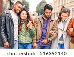 multicultural row of  friends... | Shutterstock . vector #516392140