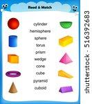 worksheet   match 3d shape... | Shutterstock .eps vector #516392683