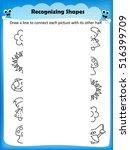 worksheet matching shapes find... | Shutterstock .eps vector #516399709