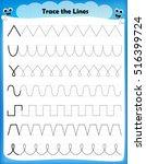 preschool worksheet trace the...   Shutterstock .eps vector #516399724