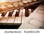 Piano and flute with golden...