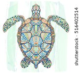 patterned turtle on the grunge... | Shutterstock .eps vector #516402514