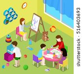 flat isometric teacher and... | Shutterstock .eps vector #516403693