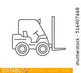 forklift editable outline... | Shutterstock .eps vector #516407668