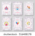 circus thin line brochure cards ... | Shutterstock .eps vector #516408178