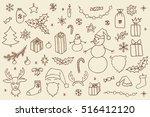 set of christmas hand drawn... | Shutterstock .eps vector #516412120