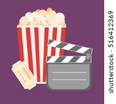 popcorn for movie theater and... | Shutterstock .eps vector #516412369