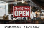 a business sign that says 'come ... | Shutterstock . vector #516415369