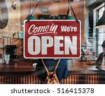 a business sign that says 'come ... | Shutterstock . vector #516415378