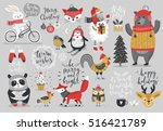 christmas set  hand drawn style ... | Shutterstock .eps vector #516421789