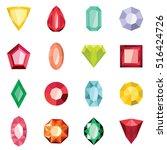 jewels set in cartoon flat... | Shutterstock .eps vector #516424726