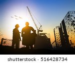 silhouette businessman engineer ... | Shutterstock . vector #516428734