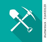 shovel and pickaxe icon with... | Shutterstock .eps vector #516433120