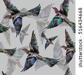 colored bird watercolor... | Shutterstock . vector #516434668