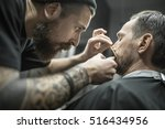 clever bearded barber is... | Shutterstock . vector #516434956
