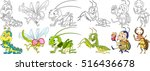 cartoon animal set. childish... | Shutterstock .eps vector #516436678