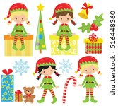 christmas elf girl vector... | Shutterstock .eps vector #516448360