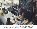coffee shop bar counter cafe... | Shutterstock . vector #516452266