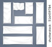 white mock up textile banner... | Shutterstock .eps vector #516459784