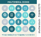 multimedia icons. multicolored... | Shutterstock .eps vector #516463270