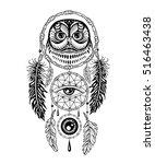 hand drawn dreamcatcher with an ... | Shutterstock .eps vector #516463438