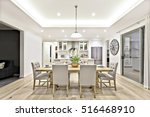 modern dining room with hanging ... | Shutterstock . vector #516468910