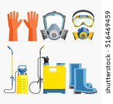 set of pesticide tool. gas mask ... | Shutterstock .eps vector #516469459