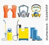 set of pesticide tool. gas mask ... | Shutterstock .eps vector #516469459