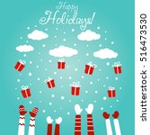 cute winter holiday... | Shutterstock .eps vector #516473530