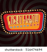 vector vintage night party sign ...   Shutterstock .eps vector #516474694