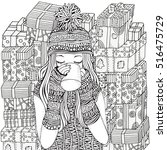 winter girl and cup of coffee....