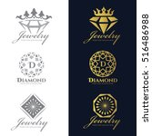 jewelry logo  crown diamond and ... | Shutterstock .eps vector #516486988