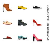 types of shoes icons set. flat...   Shutterstock .eps vector #516489544