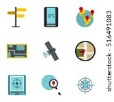 location icons set. flat... | Shutterstock .eps vector #516491083