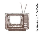 tv retro blank hand draw sketch ... | Shutterstock .eps vector #516493474