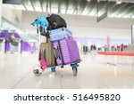 airport luggage trolley with... | Shutterstock . vector #516495820