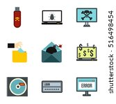 hacking icons set. flat... | Shutterstock .eps vector #516498454