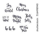 set of christmas hand lettering ... | Shutterstock .eps vector #516498940