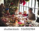 family together christmas... | Shutterstock . vector #516502984