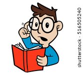 cartoon person holding a book... | Shutterstock .eps vector #516505240