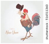 rooster. new year. 2017.... | Shutterstock .eps vector #516511360