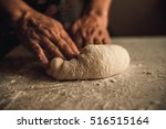 Woman Knead The Dough By Hand...