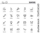 Seafood Flat Icon Set....