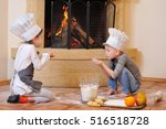 blue eyed kids in chef's hats... | Shutterstock . vector #516518728