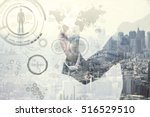 double exposure of a business... | Shutterstock . vector #516529510