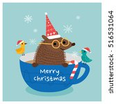 merry christmas hedgehog.... | Shutterstock .eps vector #516531064