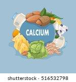 foods rich in calcium vector... | Shutterstock .eps vector #516532798