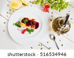 cheesecake with red topping and ... | Shutterstock . vector #516534946