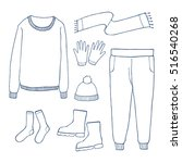 winter clothes set outline hand ... | Shutterstock .eps vector #516540268